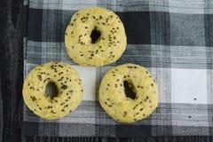 Black sesame seed bagels. Homemade black sesame seed bagels Stock Image