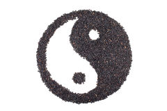 Black sesame seeds in Taoism sign Stock Image