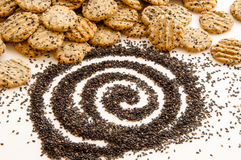 Black sesame and sesame cookies. Stock Photography