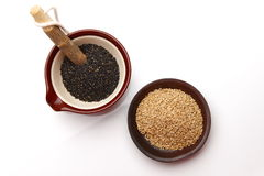 Black sesame and white sesame Stock Image