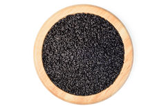 Black sesame in the wooden plate Royalty Free Stock Photography
