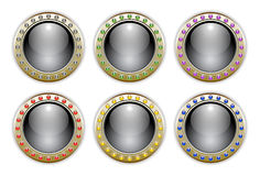 Black Set of 6 Color Combinations Glossy Buttons Stock Image
