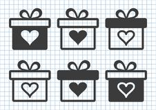 Black set of gift boxes with heart. Vector illustration stock illustration