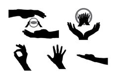 Black Set of Hand. Vector Illustration Stock Photos