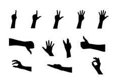 Black Set of Hand. Vector Illustration Stock Images