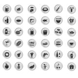 Black set of kitchen and healthy food icon Royalty Free Stock Photos