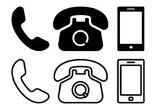 Black set of phone icons. Vector stock illustration