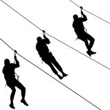 Black set silhouette extreme rope descent attraction, man descends down the cable car.  stock illustration