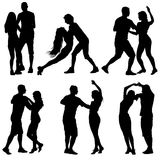 Black set silhouettes Dancing on white background. Vector illustration Stock Photo
