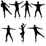 Black set silhouettes Dancing on white background. Vector illustration.  stock illustration