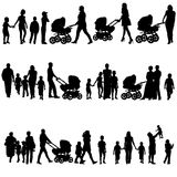 Black set of silhouettes of parents and children Stock Photography