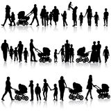 Black set of silhouettes of parents and children Stock Image