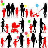 Black set of silhouettes of parents and children Royalty Free Stock Photos