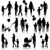 Black set of silhouettes of parents and children on white  Stock Photography