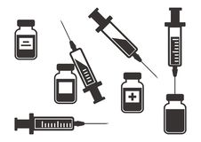 Black set of syringes for injection with vaccine. Vector illustration vector illustration