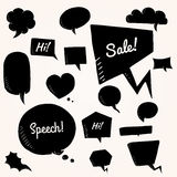 Black  set of talk and think bubbles, group of doodle speech bubles Stock Photo