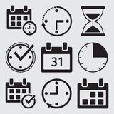 Black set of time management icons. Vector royalty free illustration