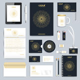 Black set of vector corporate identity template. Modern business stationery mock-up. Branding design with round golden Stock Photos