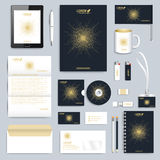 Black set of vector corporate identity template. Modern business stationery mock-up. Branding design with round golden Stock Photo