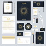 Black set of vector corporate identity template. Modern business stationery mock-up. Branding design with round golden. Form connected lines and dots . Medicine stock illustration