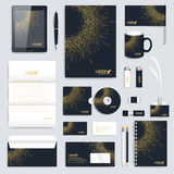 Black set of vector corporate identity template. Modern business stationery mock-up. Medical branding design molecule Stock Photos