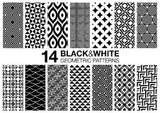 14 Black. Set of 14 black and white seamless geometric vector patterns Royalty Free Stock Photography