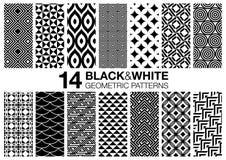 14 Black. Set of 14 black and white seamless geometric vector patterns stock illustration