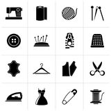 Black sewing equipment and objects icons. Vector icon set vector illustration