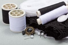 Black sewing kit Stock Images