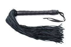 Black sex leather whip on white background Royalty Free Stock Photos