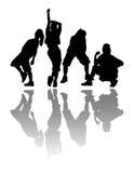 Black shadow dancing girls. Royalty Free Stock Images