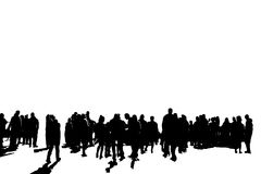 Black shadows of people on a white background. Black shadows of a large group of people walking and talking on a white background Stock Photography