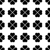 Black shamrock seamless pattern. Background of fourleaf clovers. Simple flat vector illustration.  Vector Illustration