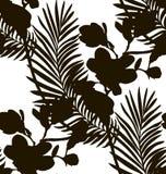 Black Shape Seamless Pattern with Drawn Flowers Plants. Vector Black Shape Decorative Seamless Background Pattern with Drawn Flowers, Branches. Hand Drawn Stock Photos