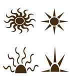 Black shapes of sun and rays Stock Photo