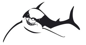 Black shark with big smile in vector. A black shark swimming with a big smile in the ocean Stock Image