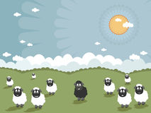 Black sheep. Landscape background with one black sheep in the flock royalty free illustration
