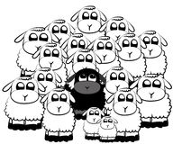 Black sheep. In a crowd of white sheeps stock illustration