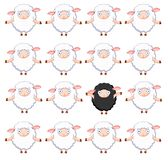 Black sheep. Design of white sheep pattern with one black sheep Royalty Free Stock Images