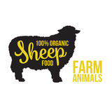 Black sheep animal circuit with product lettering. Black contour farm animal with a yellow lettering  inscription inside, Logo sheep vector animal, outline for Stock Photo