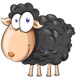 Black sheep cartoon Royalty Free Stock Image