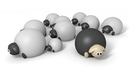 Black Sheep Characters. A cartoon depiction of the saying a black sheep on an isolated background Royalty Free Stock Photo