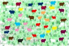 Black sheep and Colorful sheep Stock Image