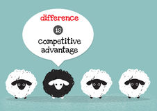Black sheep is competitive advantage. One black sheep around with white sheep that mean difference is competitive advantage vector illustration