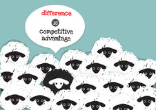 A black sheep is competitive advantage Royalty Free Stock Photos