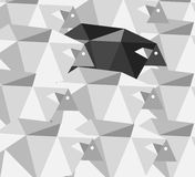 Black sheep in the crowd. Geometric Abstract background. Stock Photography