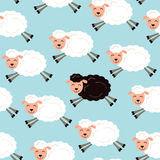 Black sheep in a flock Royalty Free Stock Photos