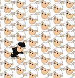 Black sheep in a group of white sheep Stock Images