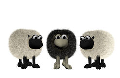 Black sheep between two white sheep. A 3d black sheep between two white sheep Royalty Free Stock Image