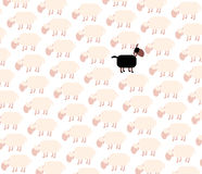 Black Sheep Among White Flock. Black sheep among white sheep flock. Vector illustration on white background Royalty Free Stock Image